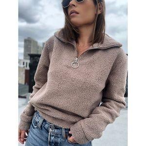 Solene Half Zip Sherpa Pullover Fleece - Taupe